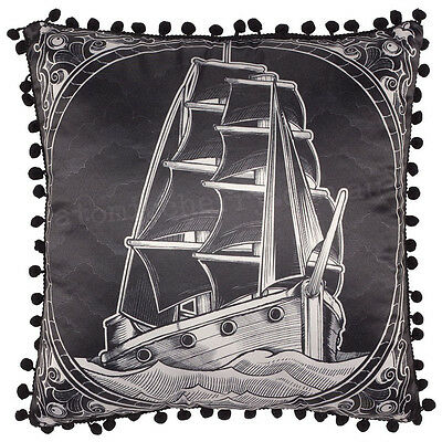 Sourpuss Clipper Ship Cushion Pillow Homewares Rockabilly Tattoo Retro Punk