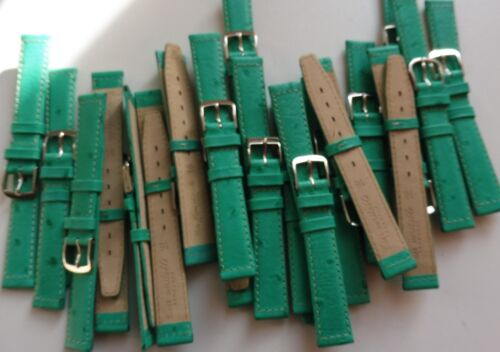 Lot 3 Bracelet montre Cuir Véritable Rembordé 16 mm Vert Boucle Acier Neuf !