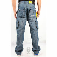 Brand Mens Enzo Denim Mid Wash Cargo Combat Jeans Designer All Sizes 28 -48