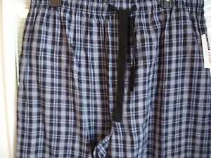 IZOD New Men's Black & Blue Plaid 100% Cotton Lounge Sleep Pants Sz L NWT