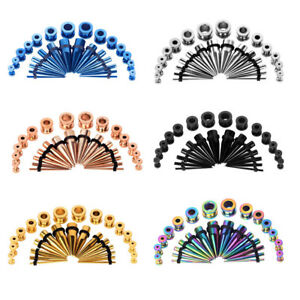 28pc-Ear-Stretching-Gauges-Kit-Tapers-Plugs-Stainless-Steel-Tunnels-12G-00G