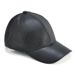 Details about Solid Black Leather Adjustable Motorcycle Biker Baseball Cap  Mens Womens Hat New 1839bf0c772