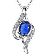 Sterling Silver Topaz & Bule Sapphire Angel Wing Pendant Necklace Gift Box E11