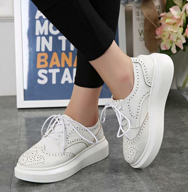 Brogues Retro Womens Low Top Flat Platform Creeper Lace Up Wingtip shoes Sneaker