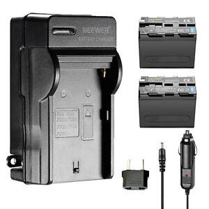 Neewer-2-Batterie-Ricambio-Sony-NP-F970-amp-Caricatori-per-Luci-LED-Monitor-ecc