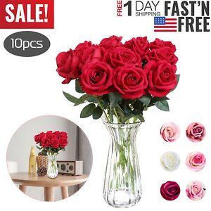 10pcs-Real-Touch-Silk-Artificial-Rose-Flowers-Simulation-Fake-Flower-Home-Decor