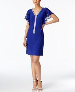3ca8d16a $235 MSK WOMEN'S BLUE EMBELLISHED SHORT SLEEVE SHEATH DRESS SIZE S ...