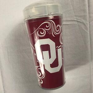 Oklahoma-Sooners-Tumbler-Mug-Lidded-Straw-16oz-Travel-Cup-USA-Made-Alumni-Grad