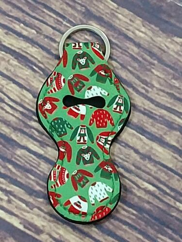 Neoprene Chapstick Holder Keychain Christmas Ugly Sweater
