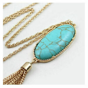 Women-039-s-2-039-039-Oval-Abalone-Shell-Druzy-Stone-Long-Tassel-Pendent-Necklace-Design
