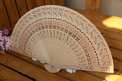 Wedding Hand Fragrant Party Carved Bamboo Folding Fan Chinese Wooden Fan V!
