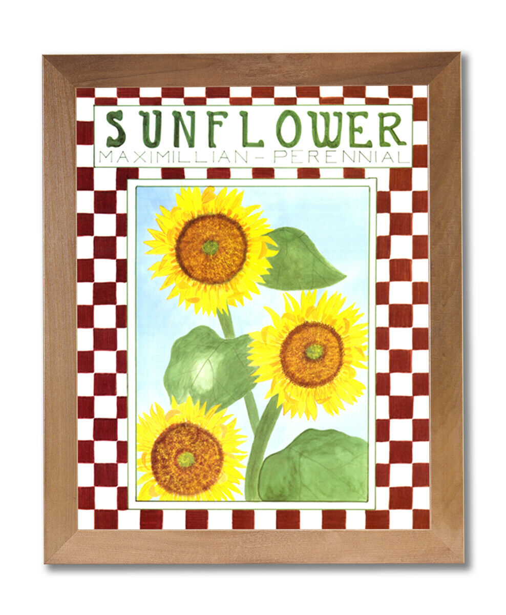 Country Sunflowers Wall Picture Honey Framed Art Print