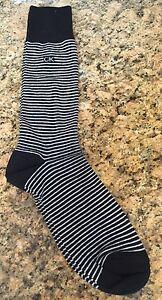 Calvin-Klein-Mens-Crew-Dress-Socks-Funky-Sox-Black-White-Stripes-L-7-12-New