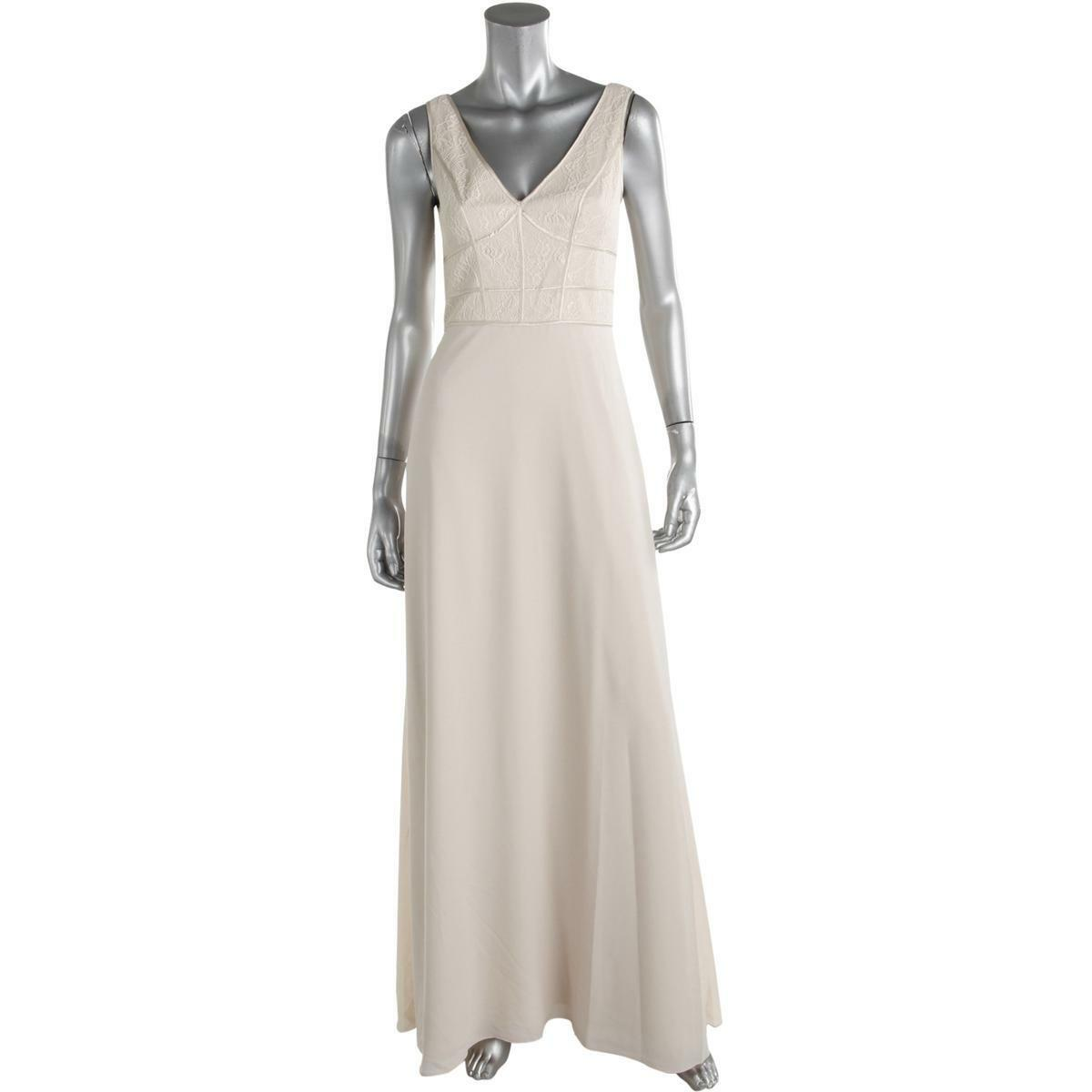 Aidan Mattox Womens 8 Ivory Silk Trim Prom Evening Dress Gown NWT