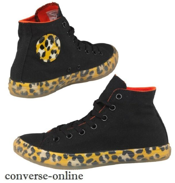 735693df084c67 Women s CONVERSE All Star Black Yellow LEOPARD HIGH TOP Trainers Boots SIZE  ...