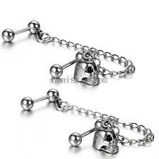 2pcs Silver Stainless Steel Double Piercings Skull Chained Mens Ladies Earrings