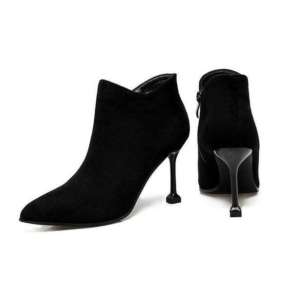 Stiefel Niedrig Stilett 8 cm Knöchel Schwarz Leder Kunststoff 9539