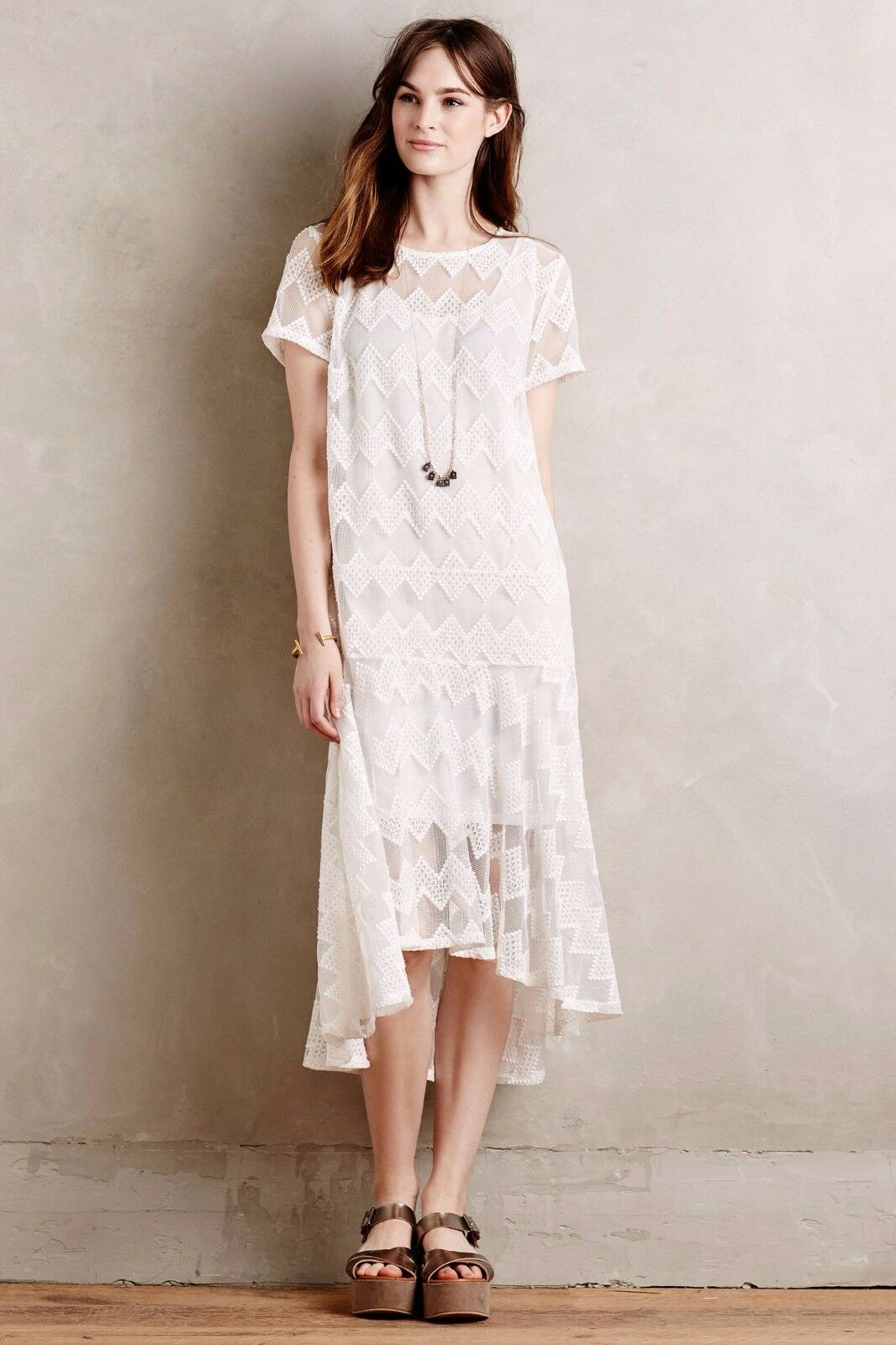 NEW Anthropologie Jenna Dropwaist Dress by Maeve, XS, XSP, S, Ivory Hi Low Hem