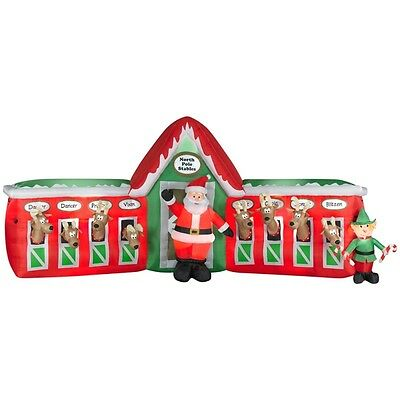 Reindeer stable christmas inflatable collection on ebay for Home depot christmas decorations 2013