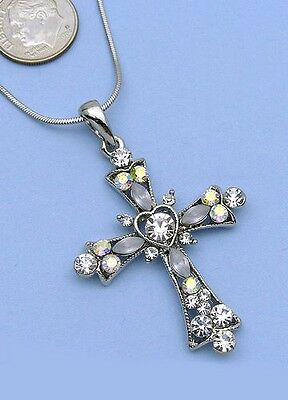 Clear Cross Charm Crystal Rhinestone Necklace Pendant 3