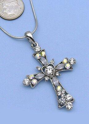 Clear Cross Charm Crystal Rhinestone Necklace Pendant 3