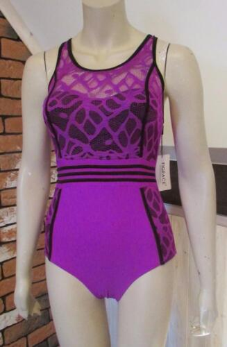 FIGRACE Swimsuit One Piece Purple Black Lace size 8-10 S new with tags #9