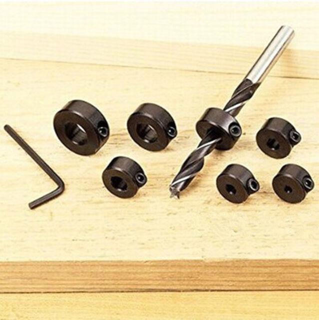 7x 3-12mm Woodworking Drill Bit Depth Stop Collars Ring Positioner Drill Locator