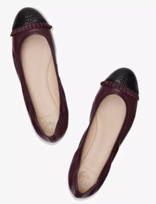 Tory Burch Jolie Women's Ruffle Black Burgundy Leather Ballet Flat Sz 10.5M 4567