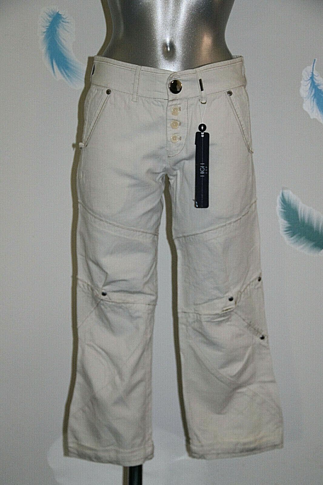 Kurze Hose Baumwolle Leinen Beige High Use Ex Girbaud Größe 36 Fr 40i Neu mit