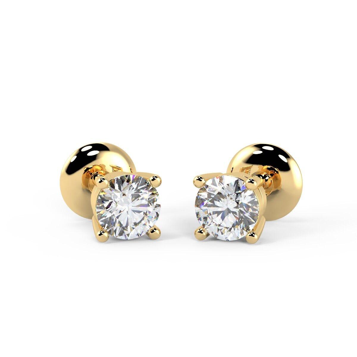 0.25 Carat Round Diamond Stud Earrings, UK Hallmarked 18k Yellow gold