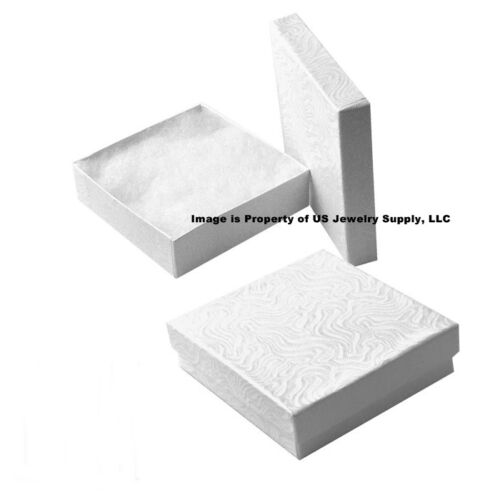 """100 White Swirl Cotton Filled Jewelry Packaging Gift Boxes 3 1//2/"""" x 3 1//2/"""" x 1/"""""""