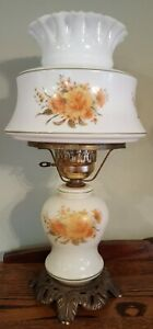 Vintage-3-Way-Electric-GWTW-Floral-Parlor-Hurricane-Lamp