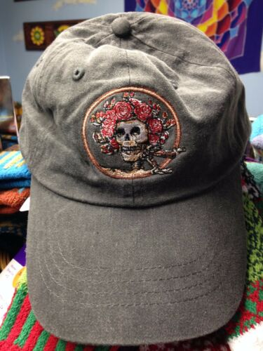 Grateful Dead Bertha Skull & Roses Baseball Hat on Stone Wash Black