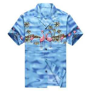 Made-in-Hawaii-Men-Hawaiian-Aloha-Shirt-Luau-Beach-Cruise-Pink-Flamingos-Blue