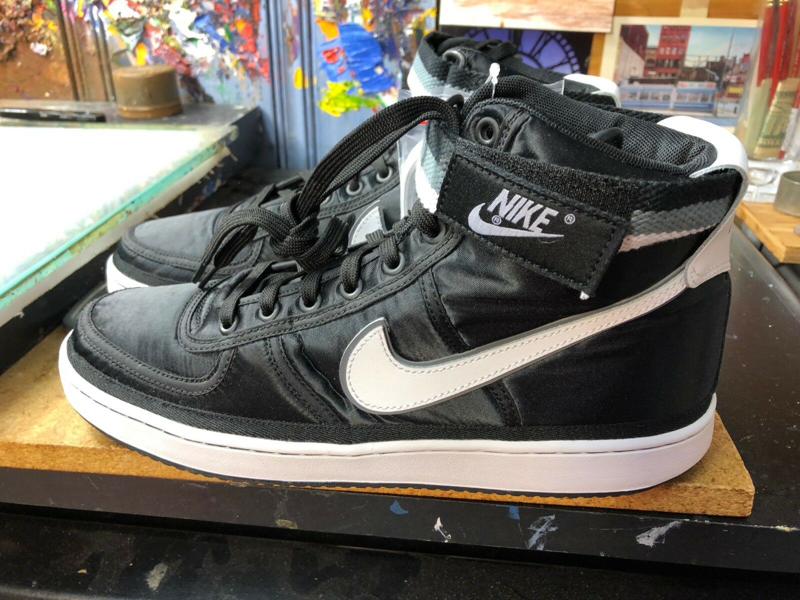 35ef5c83b06 Nike Vandal High Supreme Black White-Cool Grey Satin Size US 9.5 Men 318330  001