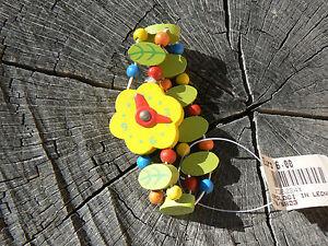 NUOVO-Orologio-giocattolo-in-legno-quadrante-giallo