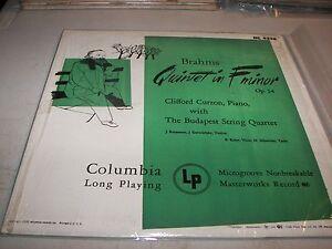 BUDAPEST-STRING-QUARTET-CLIFFORD-CURZON-BRAHMS-Op-34-LP-EX-Columbia-ML4336-1950