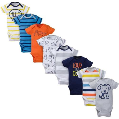 8-Pack Onesies Brand Baby Boy Short Sleeve Navy /& Orange Bodysuits