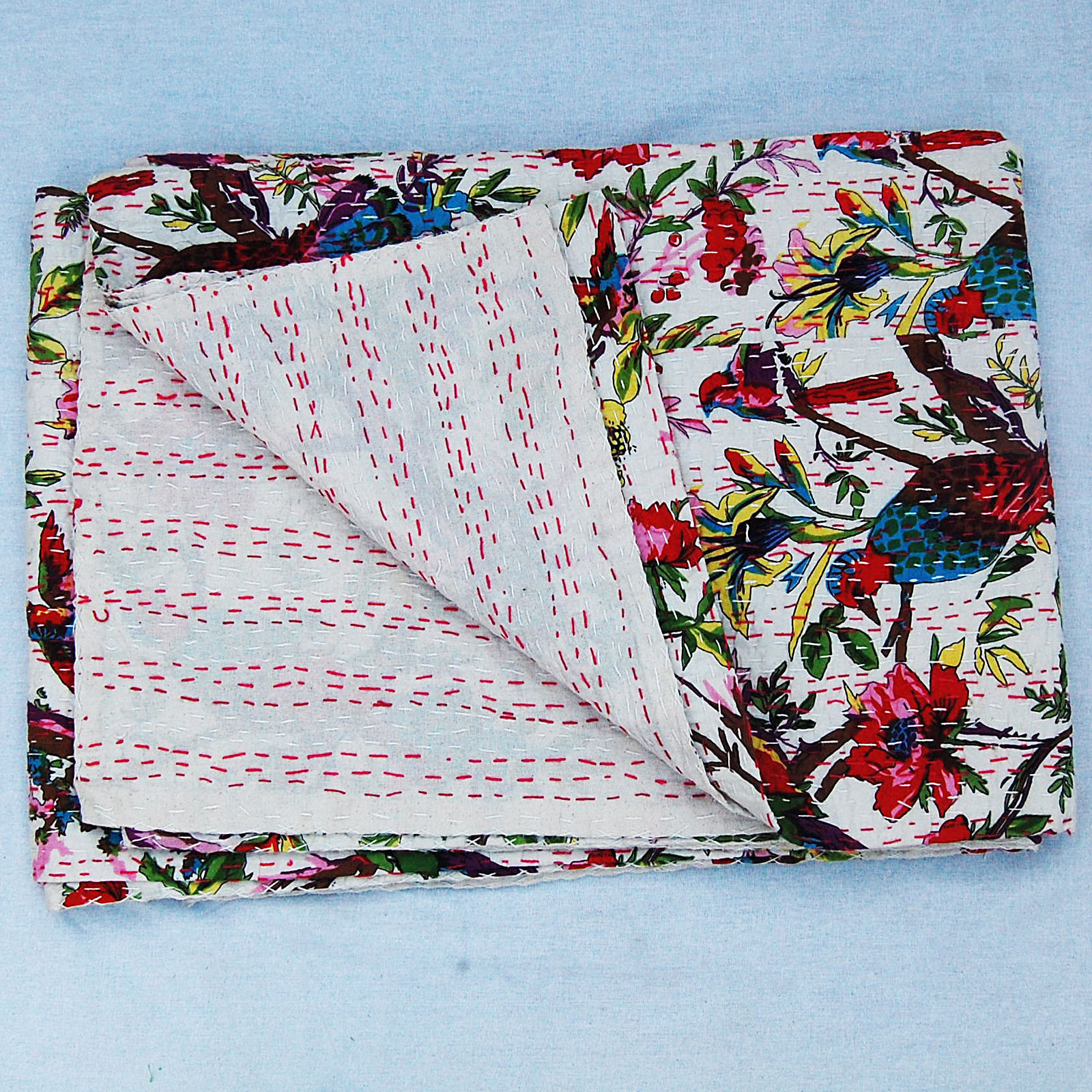 Indian Bird Print Vintage Kantha Quilt Embroidery Large Handmade Cotton Blanket