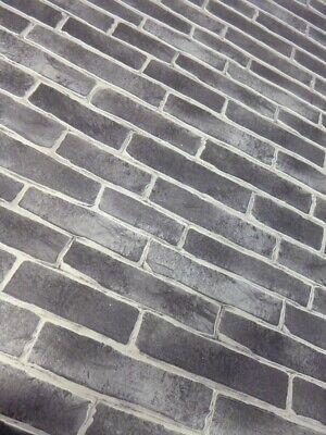 Textured Black Brick Wallpaper 996229 Narrow Tile Extra Thick Heavyweight Ebay