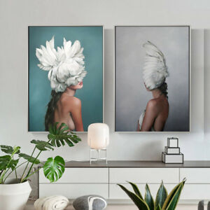 Feather-Lady-Sexy-Wall-Art-Canvas-Nordic-Poster-Abstract-Print-Living-Room-Decor