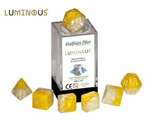 Luminous-Halfsies-Dice-7-die-polyhedral-dice-set-Blessed-Yellow-Clerical