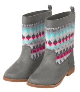 Gymboree Ice Dancer Fair Isle Boots Gray Pink Hearts Girls Nwt Size 8