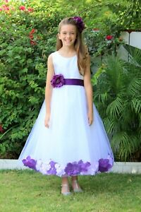Satin floral rose petals white tulle flower girl dress wedding image is loading satin floral rose petals white tulle flower girl mightylinksfo