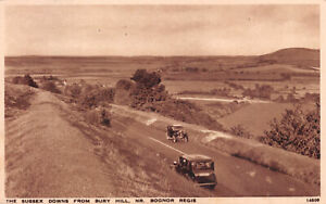 R261108 The Sussex Downs From Bury Hill. Nr. Bognor Regis. Salmon. Gravure Style
