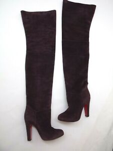 CHRISTIAN-LOUBOUTIN-Contente-39-5-Boots-Over-the-Knee-Purple-Suede-1995