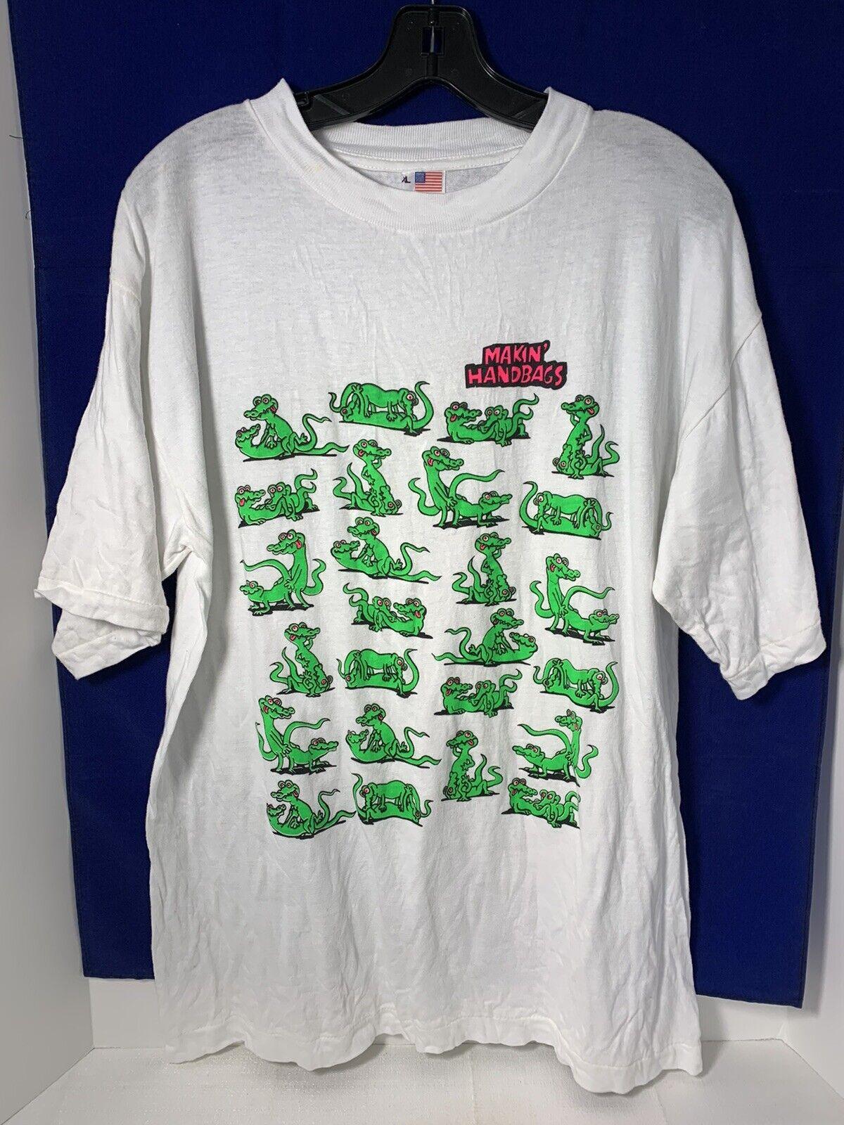 Vtg Novelty XL t-shirt Makin' Handbags Alligator naughty adult position cotton