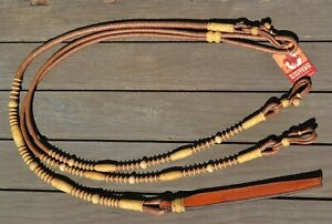 12-plait-Braided-Calf-Leather-Romal-Romel-Reins-Old-Calif-Golden-Rawhide-50-034