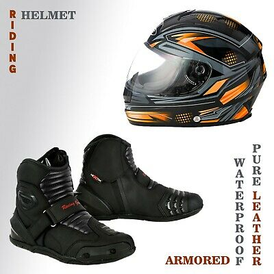Full Black UK 13 EU 47 PROFIRST Waterproof Motorbike Boots Motorcycle Armoured Short Ankle Shoes Crash Protection Protective Comfortable Racing Touring Sports Safety