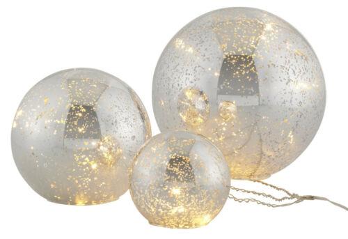 LED Kugelleuchten 3tlg silber farben Kugel Set 10//15//20 cm Deko Kugel